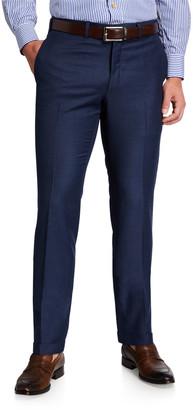 Kiton Men's Wool Flat-Front Dress Pants, Blue
