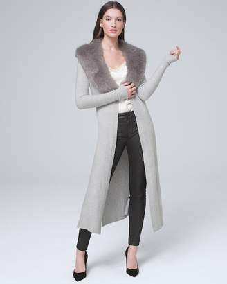 Whbm Soft Duster with Removable Faux-Fur Collar