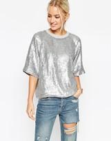 Asos Glitter Sequin Silver Sweat T-Shirt