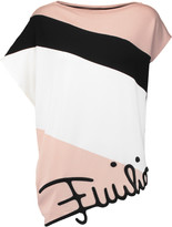 Emilio Pucci Asymmetric embroidered crepe top