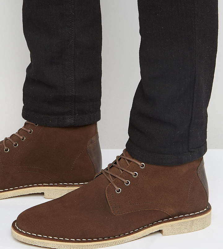 Asos Design Wide Fit Desert Boots In Brown Suede With Leather Detail