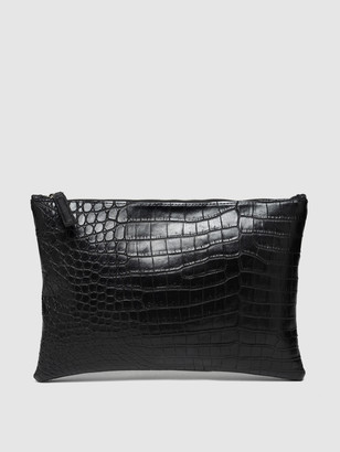 Rivers Eight Large Clutch, Faux Alligator Belly