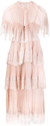 Self-Portrait Lace-Trimmed Tiered Dress