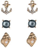 Lonna & Lilly Three-Pack Sea Motif Stud Earrings