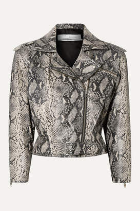 IRO Perrio Cropped Snake-effect Leather Biker Jacket - Snake print