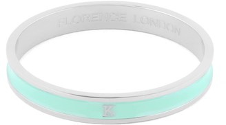 Florence London Initial K Bangle Silver Trim With Turquoise Enamel