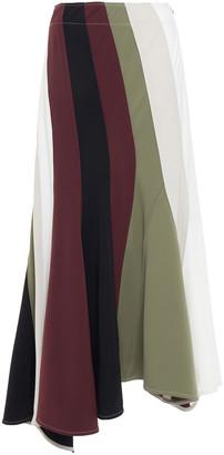 J.W.Anderson Asymmetric Color-block Stretch-jersey Midi Skirt