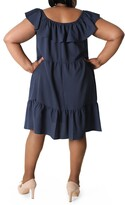 Thumbnail for your product : Sandra Darren Off-the-Shoulder Popover Ruffle Shift Dress