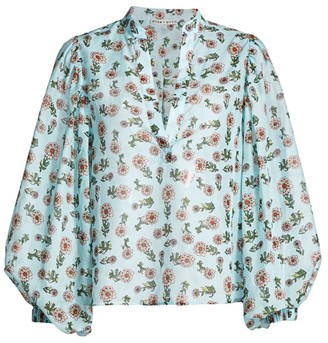 Alice + Olivia Casey Floral Cotton & Silk Blouse
