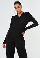 Missguided Black Rib Notch Neck Bodysuit