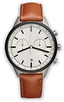 Uniform Wares Unisex PVD Grey Quartz Watch with Beige Dial Chronograph Display and Tan Nappa Leather Strap C41