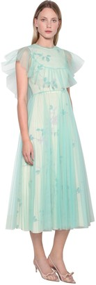 RED Valentino Printed Linen Tulle Midi Dress W/Pleats