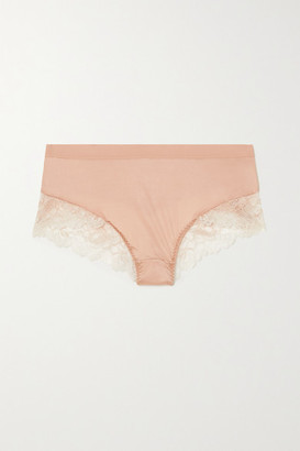 Maison Lejaby Shade Satin And Stretch-lace Briefs - Beige