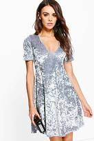 Boohoo Ciara Crushed Velvet Wrap Dress
