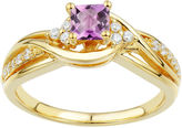 JCPenney FINE JEWELRY DiamonArt Pink and White Cubic Zirconia Bypass Bridal Ring