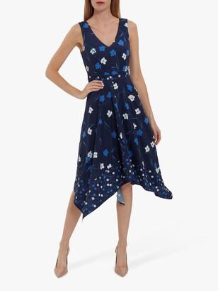 Gina Bacconi Marilla Floral Print Crepe Dress, Navy