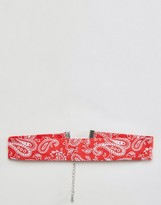 Asos Bandana Choker In Red
