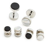 Bloomingdale's The Men's Store At The Men's Store at Polished Rhodium Reversible Stud and Cufflink Set - 100% Exclusive
