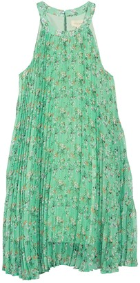 MelloDay Halter Pleated Floral Print Dress