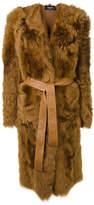 Rochas belted lamb fur coat