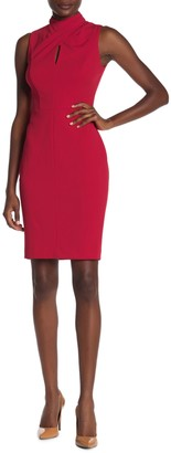 Calvin Klein Twisted Mock Neck Key Hole Sheath Dress