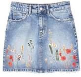 MANGO Embroidered denim skirt