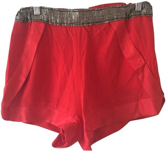 Sandro Red Silk Shorts