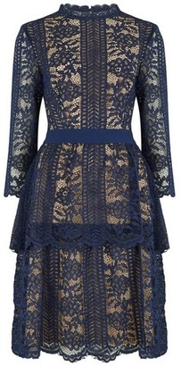 Dorothy Perkins Womens Little Mistress Blue Tiered Lace Dress, Blue