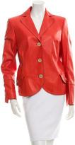 Akris Leather Three-Button Jacket