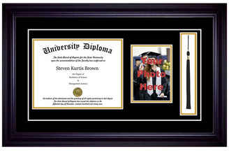 "Perfect Cases, Inc. Single Diploma Frame w/ Tassel & Double Matting, Premium Black, 14""x17"