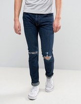 Abercrombie & Fitch Super Skinny Stretch Jean In Dark Distressed Wash With Rips
