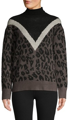 Allison New York Leopard-Print Colorblock Turtleneck Sweater
