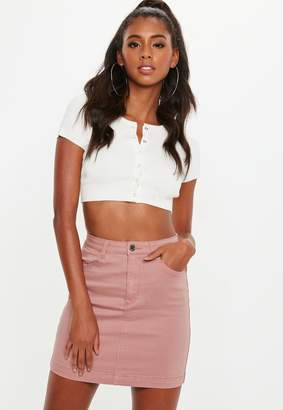 Missguided Pink Superstretch Denim Mini Skirt