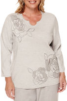 Alfred Dunner Veneto Valley 3/4-Sleeve Lace Appliqu Floral Sweater - Plus