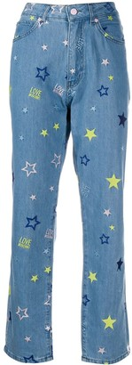 Love Moschino Embroidered Straight Leg Jeans