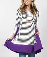 42pops 42POPS Women's Tunics Purple - Purple Stripe Contrast-Panel Boatneck Pocket Swing Tunic - Women
