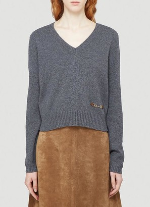 Gucci Horsebit V-Neck Sweater