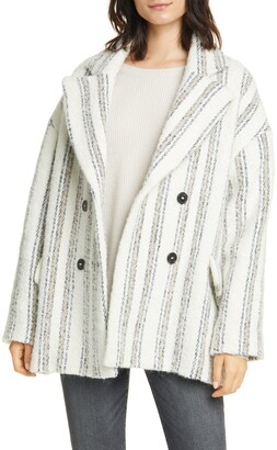 BA&SH Fillie Stripe Double Breasted Coat