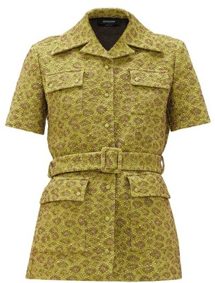Rochas Belted Floral-brocade Safari Jacket - Green