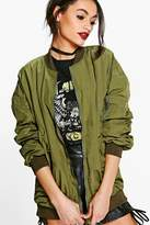 boohoo Annabelle Parachute Stitch Zip Through Bomber khaki