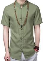 WSLCN Mens Chinese Traditional Tang Shirt Linen Kung Fu Tai Chi Shirt Short Sleeve