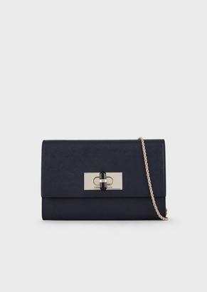 Giorgio Armani Saffiano Leather Mini-Bag/Wallet With Chain Shoulder Strap