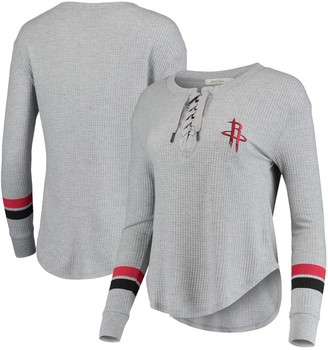 Junk Food Clothing Unbranded Women's Heathered Gray Houston Rockets Thermal Lace-Up Long Sleeve T-Shirt