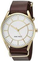 Nine West Women's NW/1942WTBN Gold-Tone Slip Through Brown Strap Watch