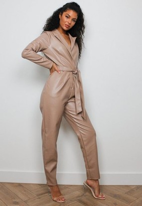 Missguided Sand Faux Leather Tie Tux Romper