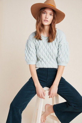 Anthropologie Bonnie Quilted Eyelash Sweater