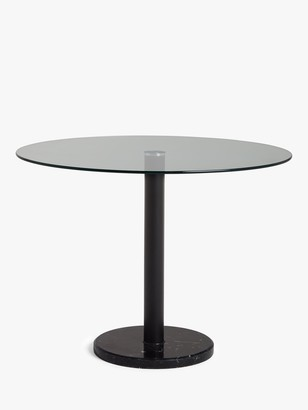 House by John Lewis Enzo 4 Seater Glass Round Dining Table, Black Marble