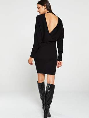 Very Deep V Ribbed Crossover Batwing Knitted Dress - Black