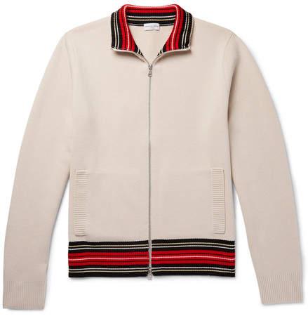 Dries Van Noten Stripe-Trimmed Merino Wool-Blend Zip-Up Cardigan