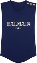 Balmain Button-embellished Printed Cotton-jersey Top - Blue